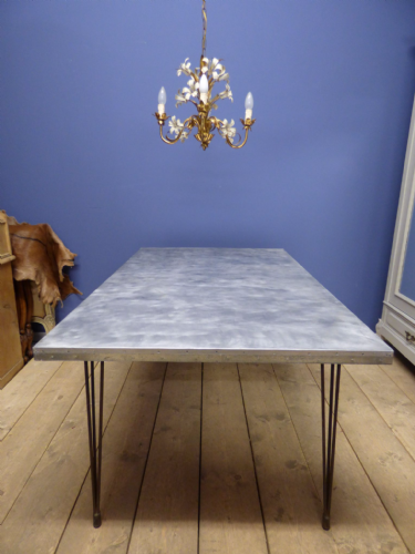 Industrial French Dining Table - Steel Top - g142